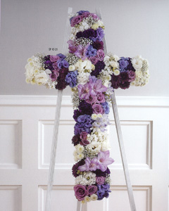 Stylized Purple and White Cross in Randallstown MD, Raimondi's Funeral Flowers