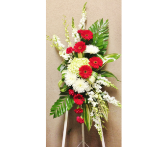 Red and White Tropics Easel  Arrangement in Wyoming MI, Wyoming Stuyvesant Floral
