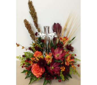 Autumn Sentiment Crystal Cross Bouquet- One-Sided in Wyoming MI, Wyoming Stuyvesant Floral
