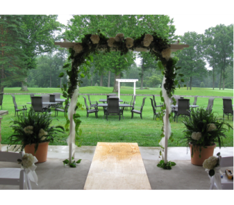 Decorated Arch with Greens & Hydrangea in Blue Bell PA, Country Flower Shoppe
