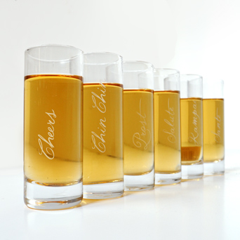 Celebration Shot Glasses - Set of 6 in Dallas TX, Dr Delphinium Designs & Events