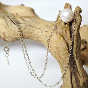 Delicate Saltwater Pearl on Silver Chain  in Dallas TX, Dr Delphinium Designs & Events
