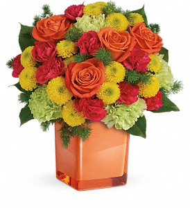 Teleflora's Citrus Smiles Bouquet in The Woodlands TX, Rainforest Flowers
