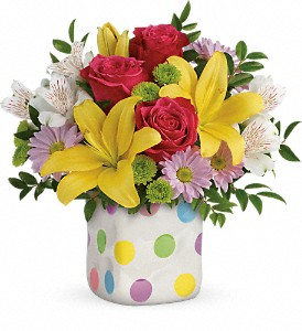Teleflora's Delightful Dots Bouquet in The Woodlands TX, Rainforest Flowers