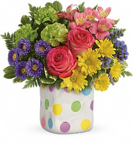Teleflora's Happy Dots Bouquet in Moore OK, Sunshine & Roses