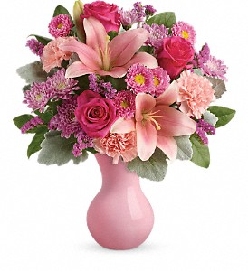 Teleflora's Lush Blush Bouquet in Redwood City CA, A Bed of Flowers