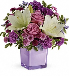 Teleflora's Pleasing Purple Bouquet in Charleston WV, Food Among The Flowers
