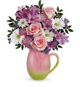 Teleflora's Spring Tulip Pitcher Bouquet in Oshkosh WI, House of Flowers
