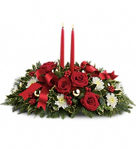 Holiday Shimmer Centerpiece in Largo FL, Rose Garden Flowers & Gifts, Inc