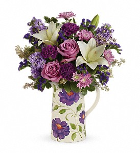Teleflora's Garden Pitcher Bouquet in San Antonio TX, The Tuscan Rose