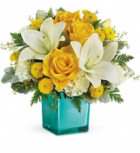Teleflora's Golden Laughter Bouquet in The Woodlands TX, Rainforest Flowers