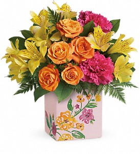 Teleflora's Painted Blossoms Bouquet in Bluffton IN, Posy Pot