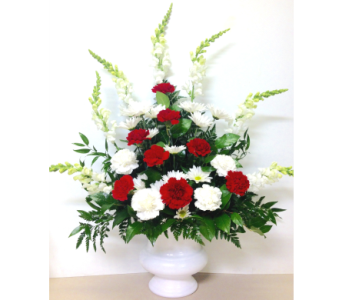 Classic Red and White Sympathy Arrangement in Wyoming MI, Wyoming Stuyvesant Floral