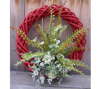 Red Fall Wreath in Lawrence KS, Owens Flower Shop Inc.