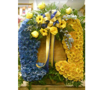 Horseshoe Custom Sympathy Arrangement in Belford NJ, Flower Power Florist & Gifts