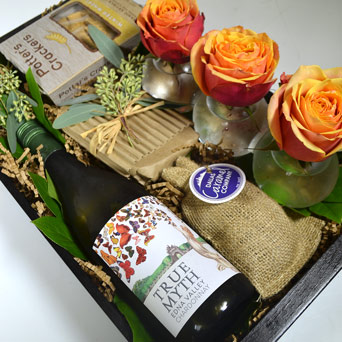 White Wine Euphoria Gift Basket in Dallas TX, Dr Delphinium Designs & Events