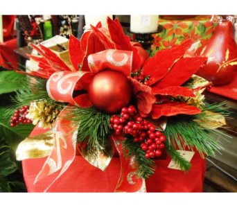 Silk Rich & Red holiday Arrangement in Tampa FL, Buds Blooms & Beyond