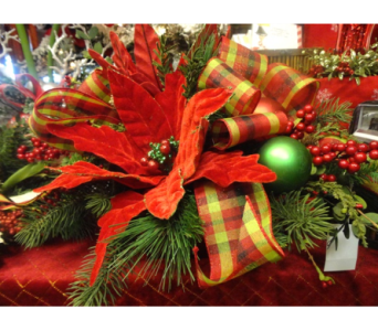Silk Robust Red & Plaid Holiday Arrangement  in Tampa FL, Buds Blooms & Beyond