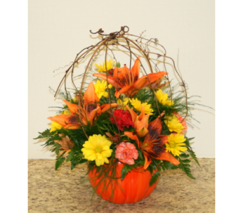 Willow Pumpkin Centerpiece in Asheville NC, Kaylynne's Briar Patch Florist, LLC