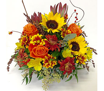 Sunflowers & Roses Table Centerpiece in Wyoming MI, Wyoming Stuyvesant Floral