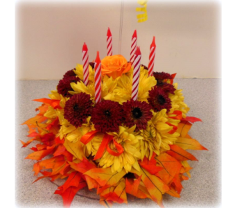 Autumn Flower Cake in Asheville NC, Kaylynne's Briar Patch Florist, LLC