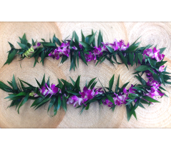 Maile Lei Intertwined with Orchid Lei in Los Angeles CA, Haru Florist