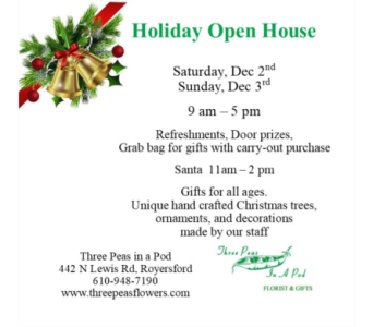 Holiday Open House in Royersford PA, Three Peas In A Pod Florist