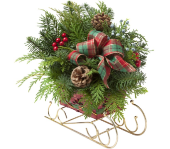 Holiday Sleigh   in Traverse City MI, Teboe Florist