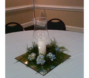Hydrangea and Candle Centerpiece in Cary NC, Cary Florist