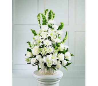 All White Basket in Waltham MA, Waltham's Florist