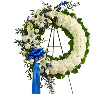 Serene Blessing Standing Wreath Blue & White