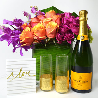 Sparkling Celebration Anniversary Gift Set in Dallas TX, Dr Delphinium Designs & Events