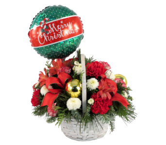 Merry Christmas Basket Bouquet in Southfield MI, Thrifty Florist