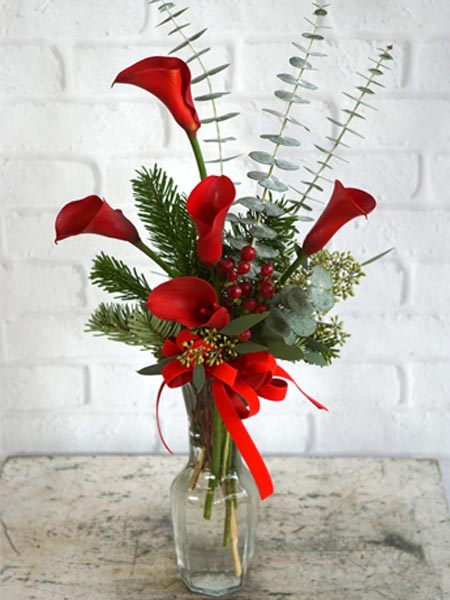 Christmas Callas in Red in Fort Myers FL, Fort Myers Florist, Inc.