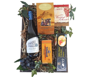 Oregon Made Gift Box with Wine in Eugene OR, Dandelions Flowers