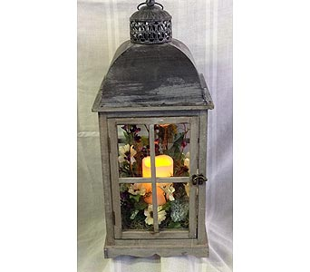 Lighted Lantern with Silk Flowers in Portsmouth OH, Kirby's Flowers