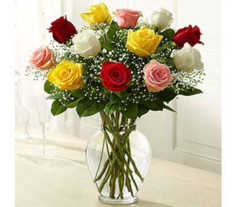 12 Assorted Roses & Babies Breath in Indianapolis IN, George Thomas Florist