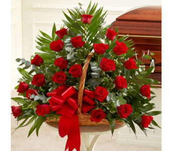 Red Roses in Fireside Basket in Indianapolis IN, George Thomas Florist