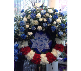 Red, White and Blue Sympathy Wreath in San Jose CA, Rosies & Posies Downtown