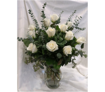 Elegant White Rose Bouquet in Princeton, Plainsboro, & Trenton NJ, Monday Morning Flower and Balloon Co.