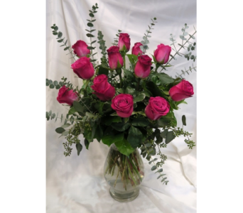 Flirty Hot Pink Rose Bouquet in Princeton, Plainsboro, & Trenton NJ, Monday Morning Flower and Balloon Co.