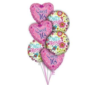 Sweet 16 Balloon Bouquet in Princeton, Plainsboro, & Trenton NJ, Monday Morning Flower and Balloon Co.
