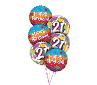 21st Birthday Balloon Bouquet in Princeton, Plainsboro, & Trenton NJ, Monday Morning Flower and Balloon Co.