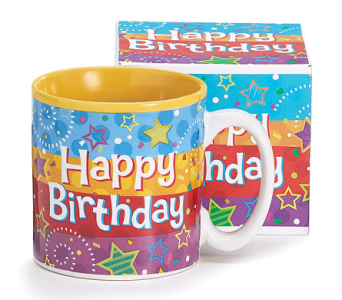 Striped Happy Birthday Mug in Princeton, Plainsboro, & Trenton NJ, Monday Morning Flower and Balloon Co.