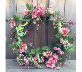 Spring Wreath in Pinks in Lawrence KS, Owens Flower Shop Inc.