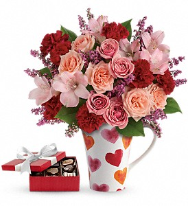 Lovely Hearts Bouquet with chocolates in Evansville IN, Cottage Florist & Gifts