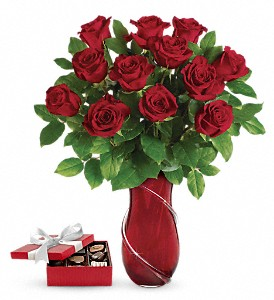 Wrapped In Roses Bouquet with chocolates in Spruce Grove AB, Flower Fantasy & Gifts