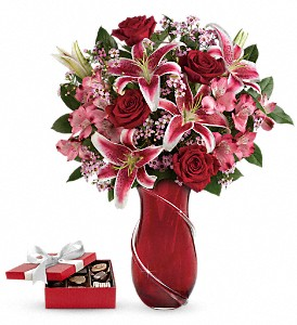 Wrapped With Passion Bouquet with chocolates in Evansville IN, Cottage Florist & Gifts