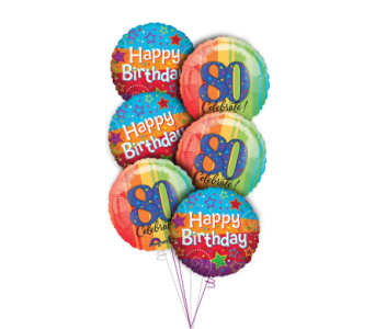 80th Birthday Balloon Bouquet in Princeton, Plainsboro, & Trenton NJ, Monday Morning Flower and Balloon Co.
