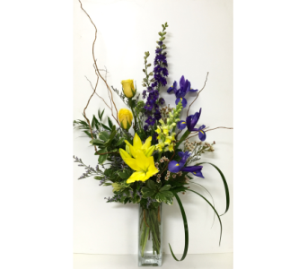 Yellow & Purple in 8 inch Square Vase - One-Sided in Wyoming MI, Wyoming Stuyvesant Floral